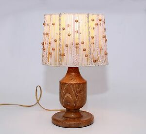 Vintage Retro Wood Table Bedside Lamp With Beaded String