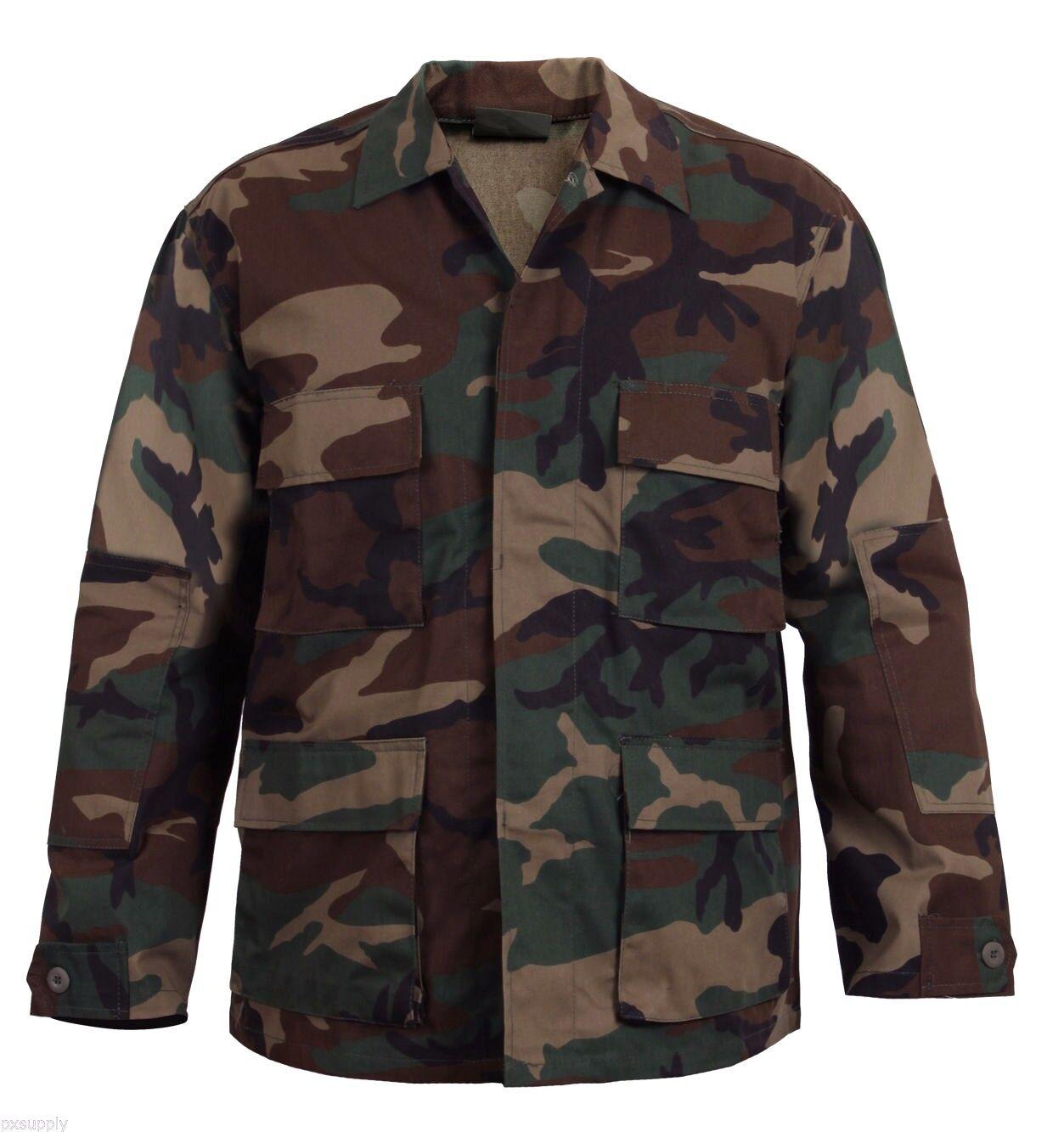 Woodland camo bdu shirt military style camouflage coat redhco 7940