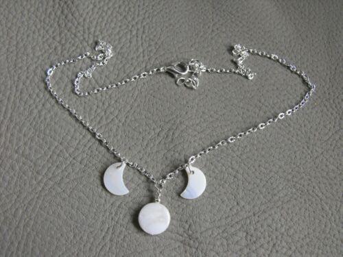 """Collar de cáscara blanca Triple Luna Wicca Pagano 16/"""" 18/"""""""