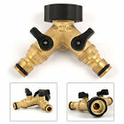 """Solid Brass 2 Way Double Outside Garden Tap Adaptor & Hose Connectors 3 4"""""""