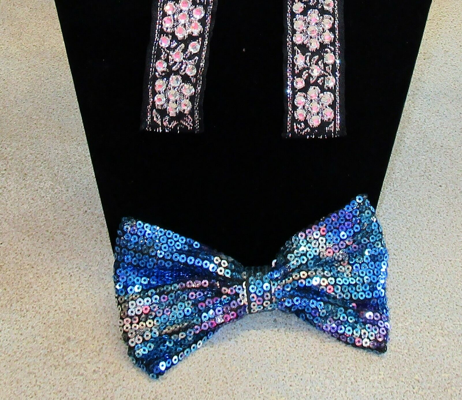 Sequin BOW TIE for Women Girls Lot of 2 Black & Silver + Blue Multi Color