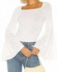 Free-People-Womens-Babetown-Top-White-Medium-M-Square-Neck-Bell-Sleeve-68-458