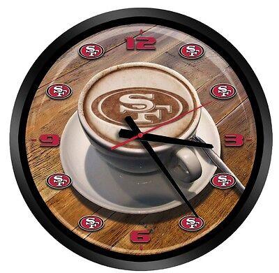 "NEW SAN FRANCISCO 49ERS LATTEAM COFFEE ART GLASS WALL CLOCK 15"""