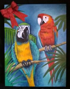 Parrots-birds-painting-gift-mccaws-pet-original-artist-acrylic-on-canvas