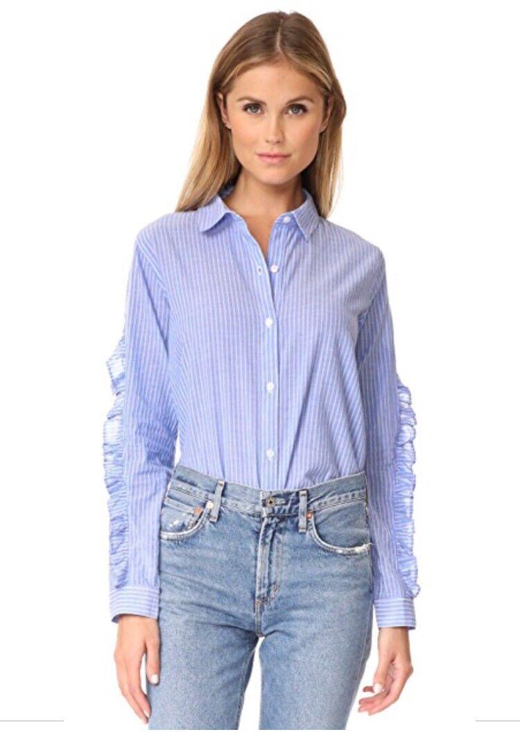 RAILS Lizzi Button Down Blau Weiß Stripe Ruffle Sleeve Top Shirt Sz Large