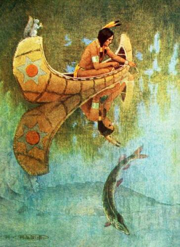 Indian Brave Fishing from Canoe by Mary Louise Kirk