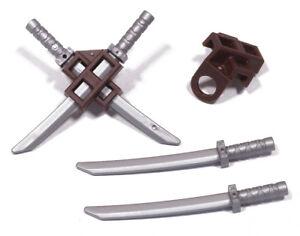 LEGO-Ninjago-4-x-Ninja-Schwert-silber-mit-2-Rueckenhaltern-dunkelbraun-NEUWARE