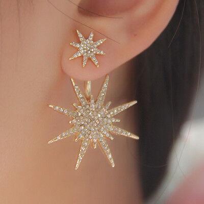 Trendy Women Crystal Eardrop Double Sided Star Earrings Ear Stud Plug Pin 1Pc
