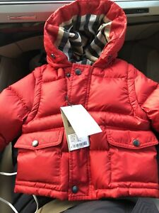 8717980cc5f0 NWT Burberry Baby Boys Military Red Down Jacket 12 Months