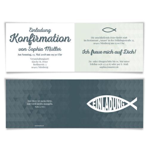 Konfirmation Einladungskarten Konfirmationskarten Einladungen Modern Jesus Fisch