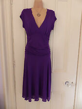 Jigsaw size S purple jersey fabric dress, draped and ruched, v neck, cap sleeved
