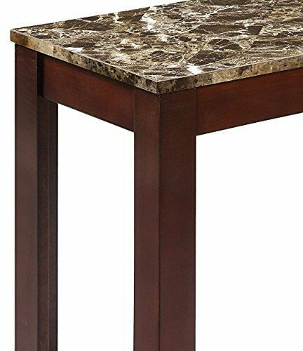 24 x 12 Inch Transitional Style End Table with Faux Marble Top