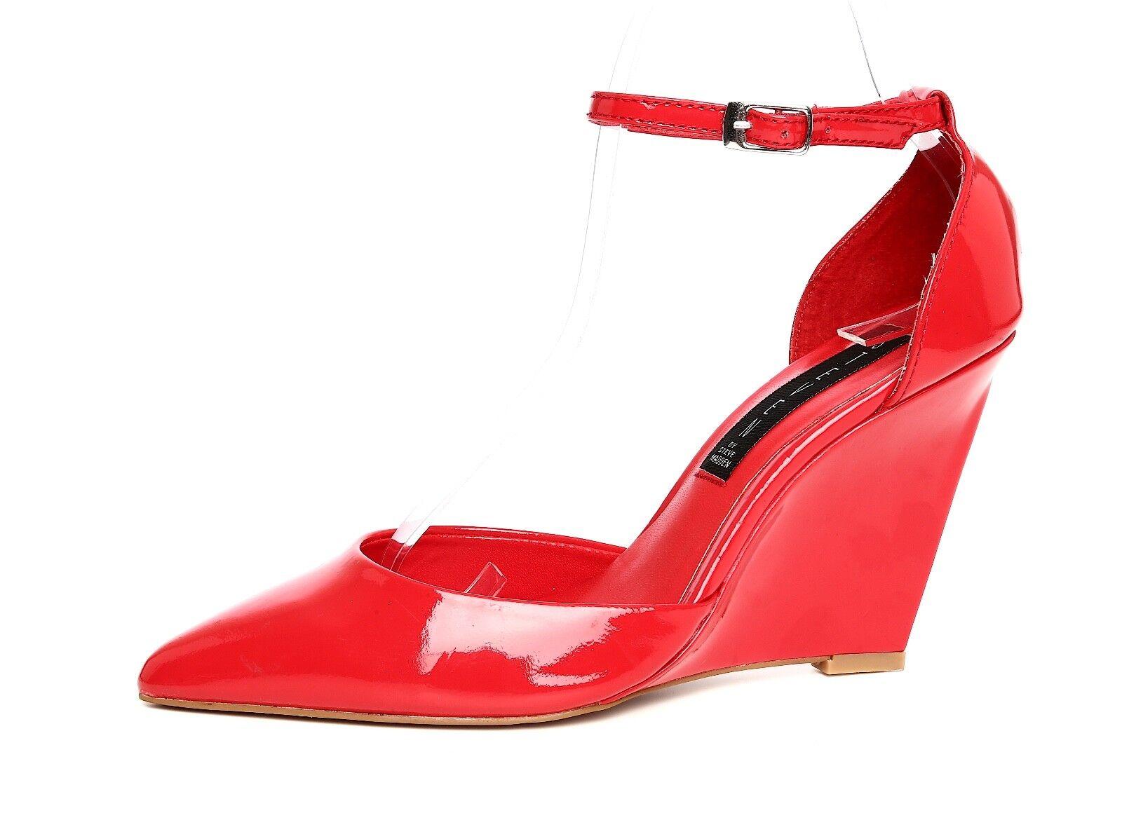 Steven By Steve Madden Chrli Women's Red Patent Leather Wedge Pump Sz 6M 4890
