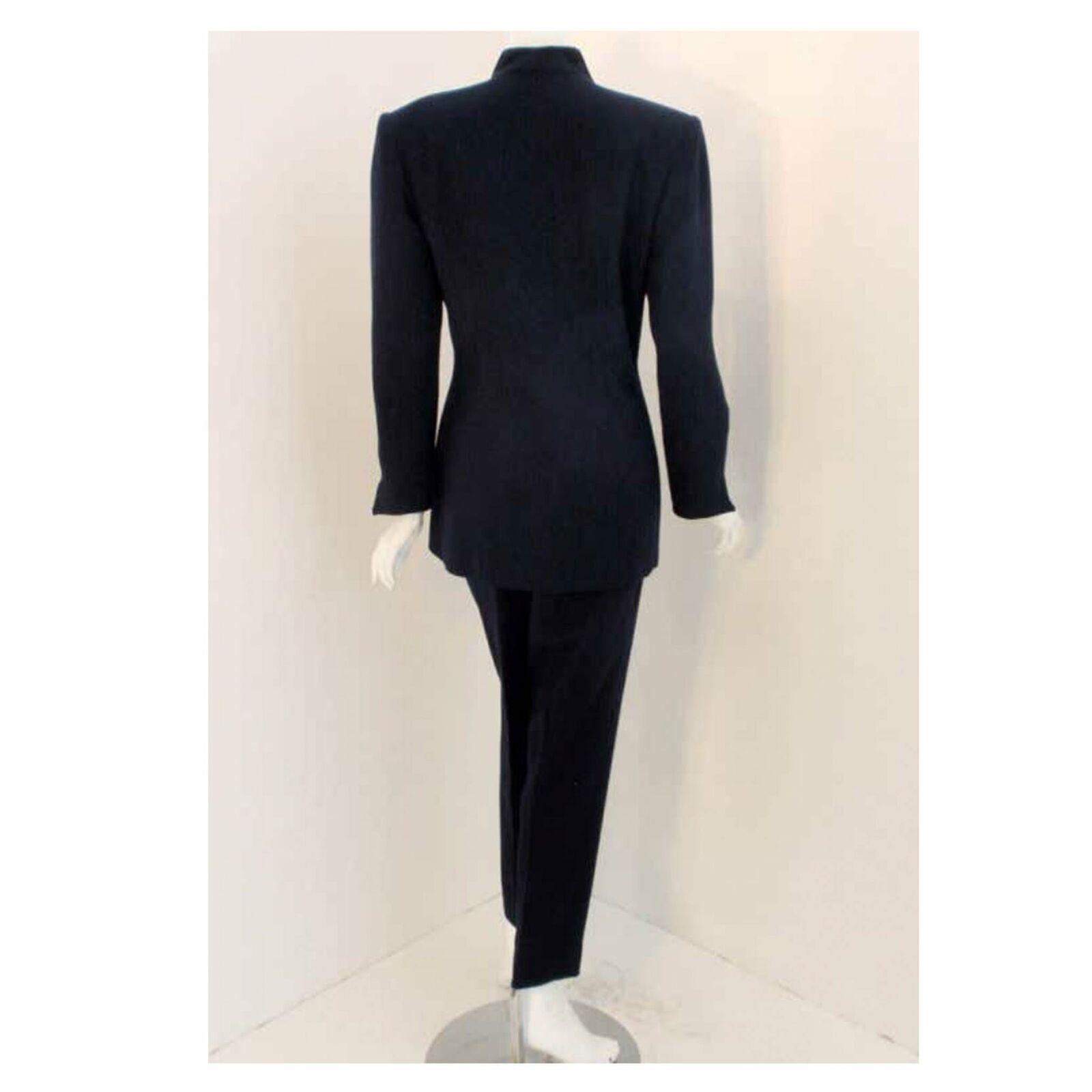 CHRISTIAN DIOR 1980s 2 pc Dark Blue Pant Suit - image 2