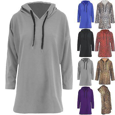 623447133131 Details about Womens Ladies Leopard Oversized Hooded Long Sleeve Pocket  Baggy Sweatshirt Dress
