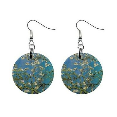 "Van Gogh Blooming Almond Tree Round 1"" Button Earrings"