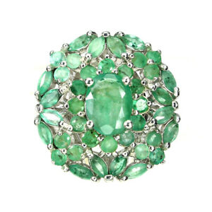 Unheated-Oval-Green-Emerald-8x6mm-White-Gold-Plate-925-Sterling-Silver-Ring-7