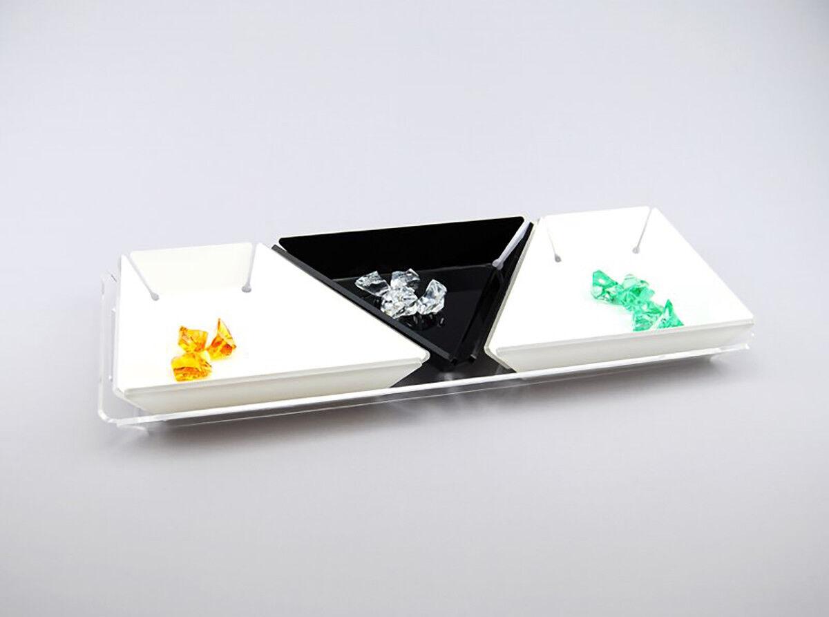 Slato Set Composto da 4 vassoi per aperitivi, Tapas e Snack in plexiglass Clover