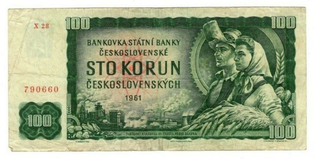 CZECHOSLOVAKIA 100 Korun (1961) P-91 Prefix X 28 VF Banknotes Paper Money