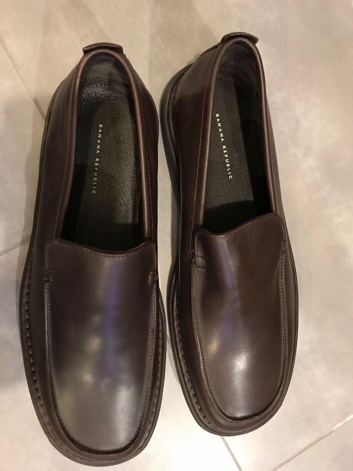 BRAND NEW Banana Republic Dark Brown Rich Leather Loafer, Size 11, Made in Italy Scarpe classiche da uomo