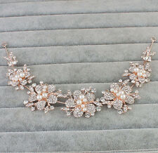 Gold Headdress Pearls Bridal Headpiece Crystal Hair Vine Wedding Accessories 1 P