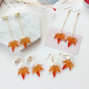 Thanksgiving-day-Fall-Autumn-Tree-Maple-Leaf-Hook-Clip-Up-Long-Earrings-Jewelry