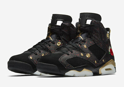 reputable site bb7fb 71224 Air Jordan 6 Retro CNY Chinese New Year Black Gold Sizes 8 ...