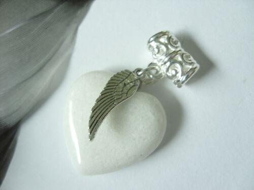 20 x 6 mm weiße Jade Herz Edelstein Ketten Anhänger mit Engels-Flügel