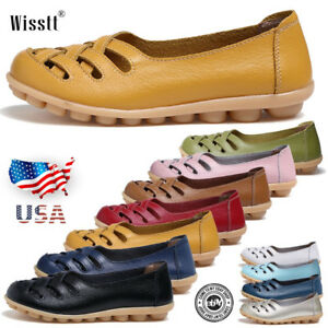 Women-039-s-Casual-Slip-On-Leather-shoes-Moccasins-Comfort-Driving-Flat-Loafers