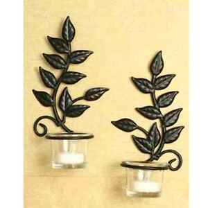 Http Www Ebay Com Itm Home Room Decor 2 Iron Leaf Tea Light Wall Sconces Candle Holder Glass Cup Gift 322347240497