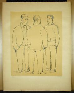 Signed-034-Morris-034-Print-Original-Justified-25-40-c1960-Jeunes-Mens-Standing
