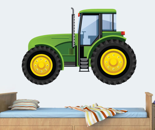 Green Tractor Wall Art Vinyl Stickers Childrens John Deere Digger ...