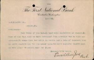 1893 Centralia Washington (WA) Letter The First National Bank M. J. Shields Erne