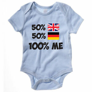 50% BRITISH 50% GERMAN 100% ME - Germany / Britain / Funny Themed Baby Grow