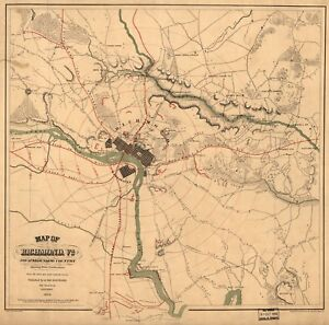 Details about A4 Reprint of American Cities Towns States Map Richmond  Virginia