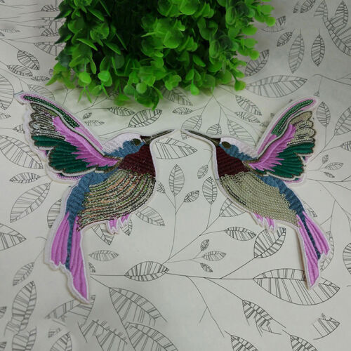 1 pair Birds Hummingbirds DIY Embroidered Patch Clothes Fabric Patches 18*14.5cm
