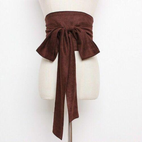 Damen Kunstwildleder Gürtel Korsett Schleife Breit Japanisch Obi Kimono Yukata