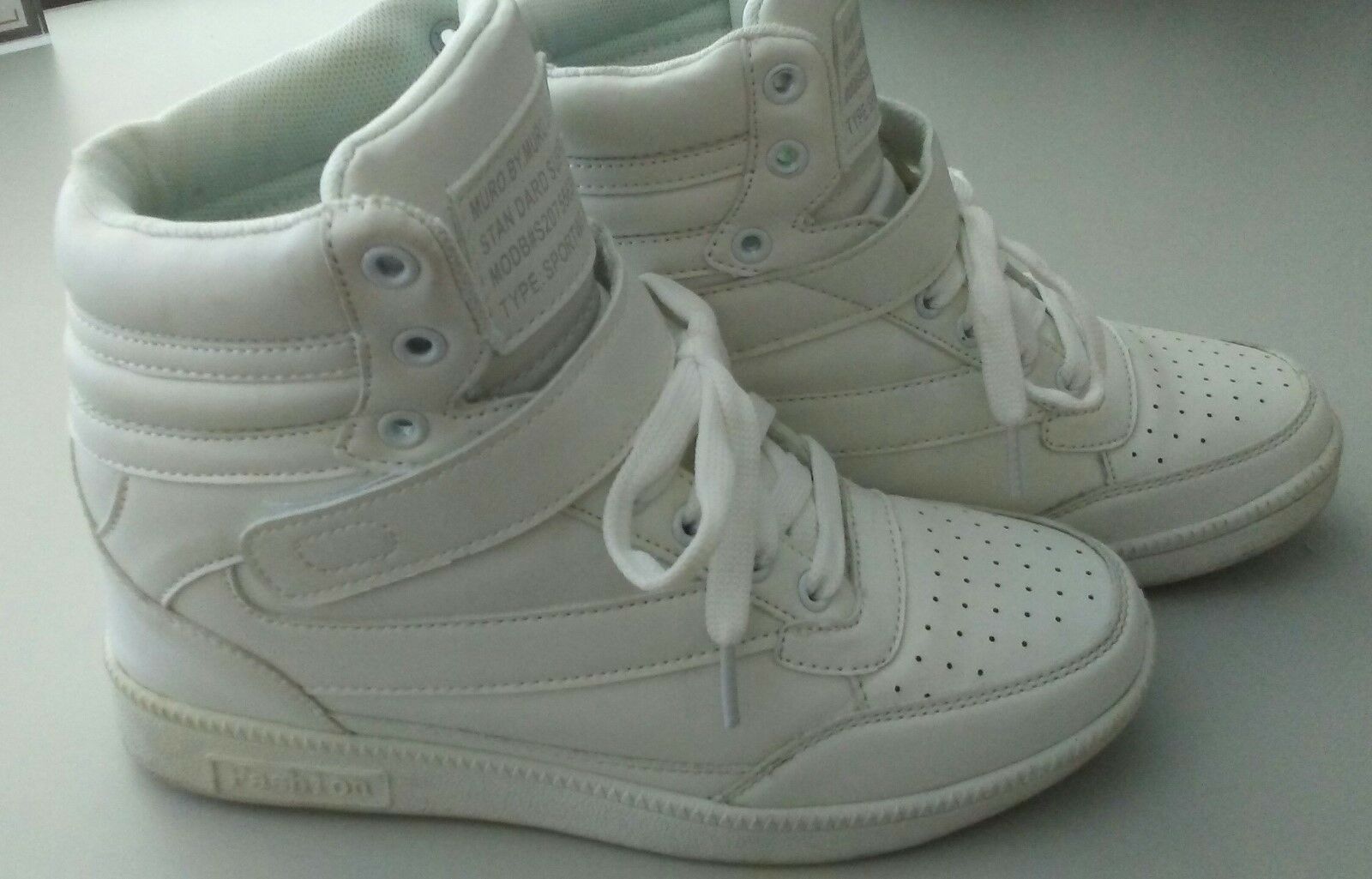 MURO.BY.MURO FashionWhite Hidden Wedge High Top Sneakers Velcro/Lace Closure