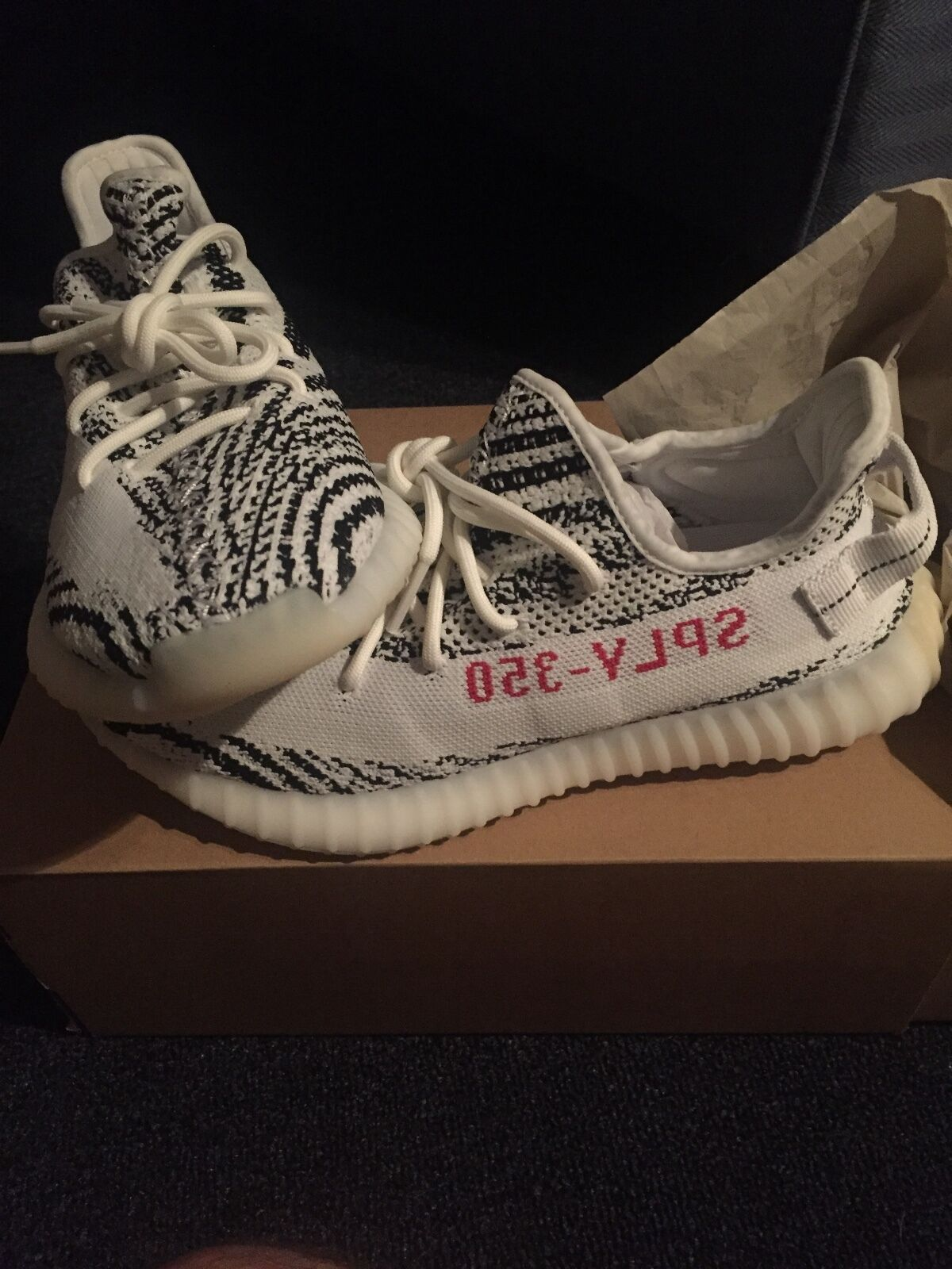 Mens zebra yeezys sz 9.5 ....these are brand new with box