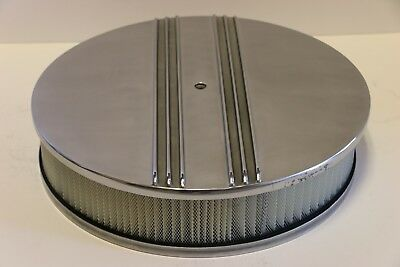 """Full Finned Chevy Ford Mopar 14/"""" Round Polished Aluminum Air Cleaner Top"""
