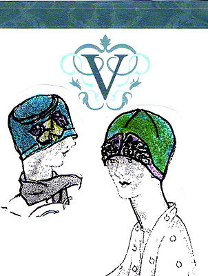 2 Vintage 1920s Downton Abbey era flapper hat sewing patterns-with paper pieces