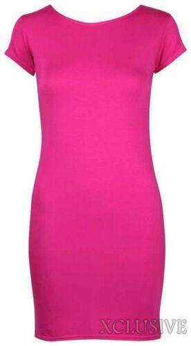 Damen Übergröße Flügelärmel Lang Einfarbig Stretch Top Bodycon Minikleid 14-20