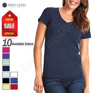NEW-Next-Level-Women-039-s-Super-Soft-V-Neck-Sueded-Short-Sleeve-T-Shirt-M-N6480