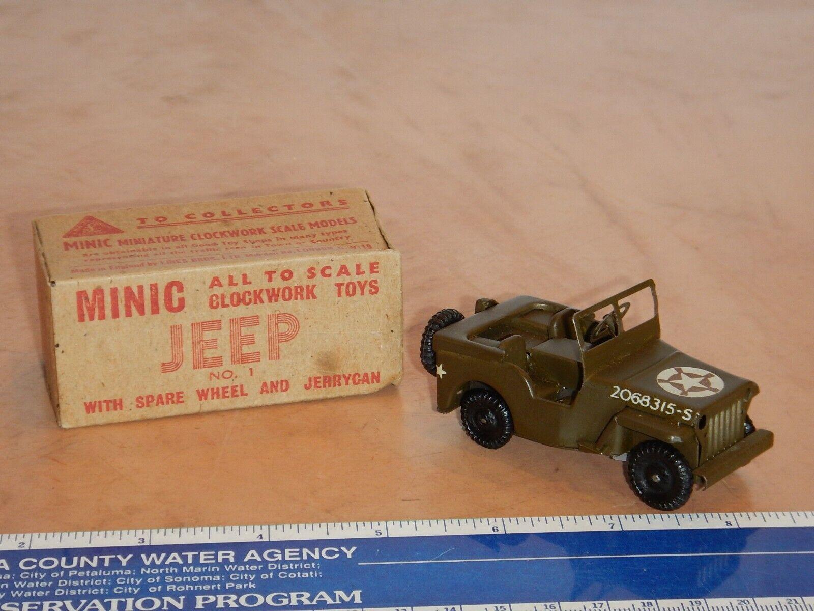 VINTAGE TRIANG MINIC U.S. ARMY JEEP, CLOCKWORK WIND-UP WITH ORIGINAL BOX, WORKS