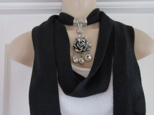 Black Glitter Scarf with Scarf Ring Necklace Pendant 4 Designs