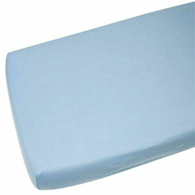 4x Moses Basket 100 Cotton Fitted Sheet Blue