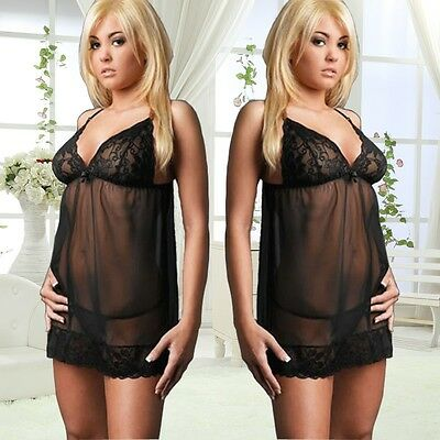 2015 Sexy New Lace Nightwear Pajama Strap Sleep Dress Black Lingeries Underwear