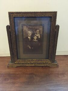 Vintage Art Deco Gold Mirror Wood Frame Free Standing
