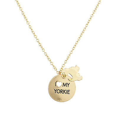 Lux Accessories Goldtone I Love My Yorkie Dog Animal Heart Charm Necklace