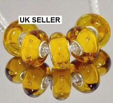 5pcs Silver Murano Glass Lampwork Beads Fit European Charm Bracelet 124d